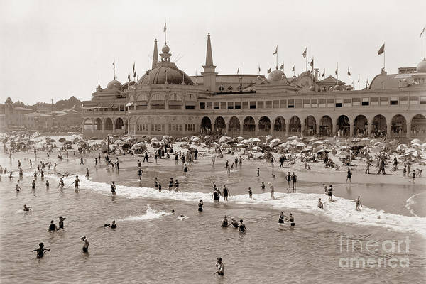 Photograph - Santa Cruz Beach From Pleasure Pier  California Circa 1908 by California Views Archives Mr Pat Hathaway Archives