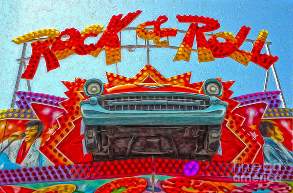 Painting - Santa Cruz Boardwalk - Rock And Roll by Gregory Dyer