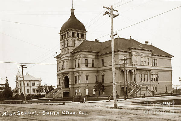 Photograph - Santa Cruz High School On Walnut Street. Circa 1910 Photo By Besaw by California Views Archives Mr Pat Hathaway Archives