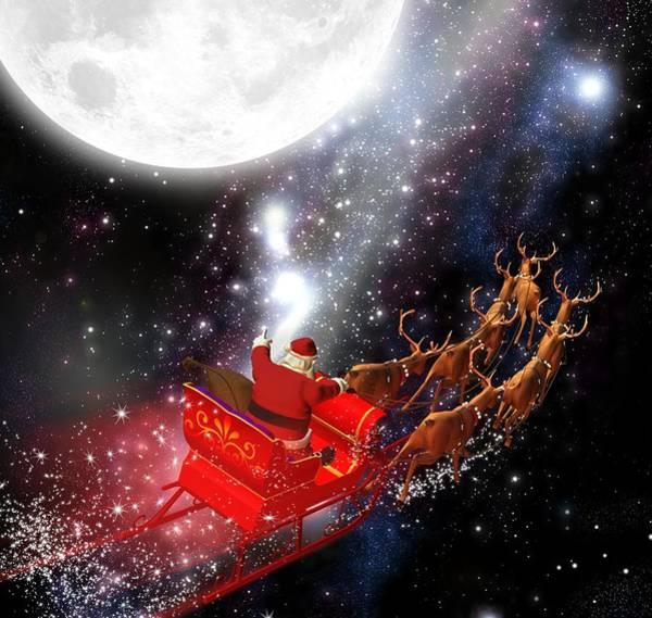Photograph - Astronaut Santa Delivering Presents by Doc Braham