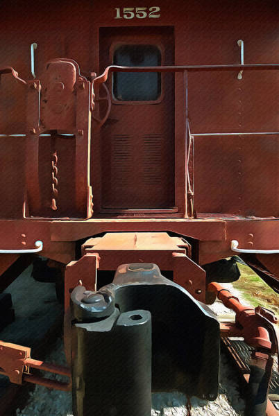 Model Trains Painting - Santa Fe Caboose Door by L Wright