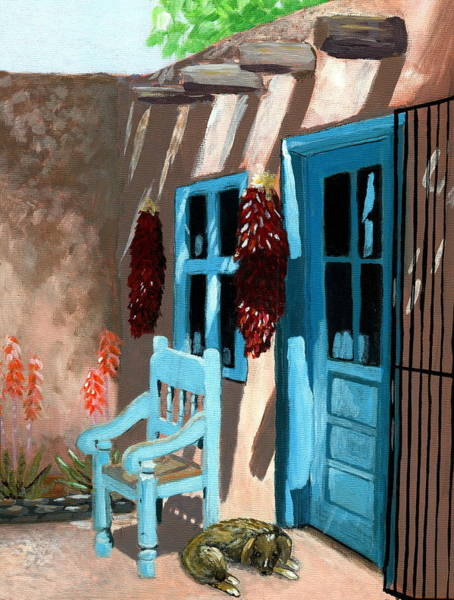 Tucson Arizona Wall Art - Painting - Santa Fe Courtyard by Karyn Robinson