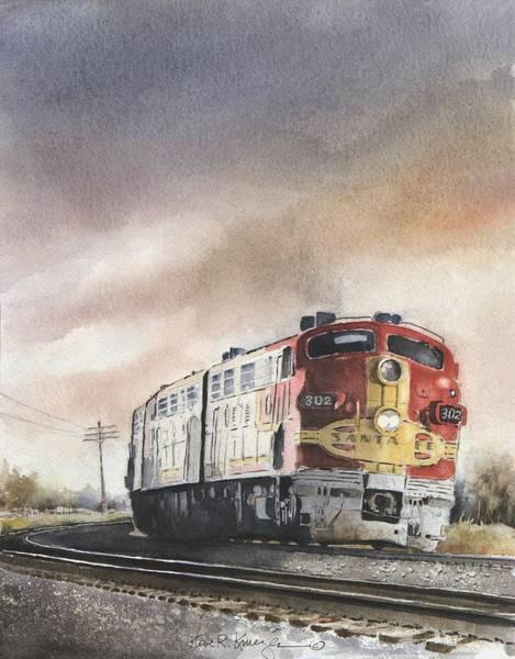 Diesel Trains Painting - Santa Fe Sunset by Steve Krueger