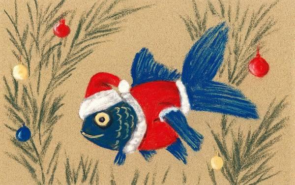 Painting - Santa Fish by Anastasiya Malakhova