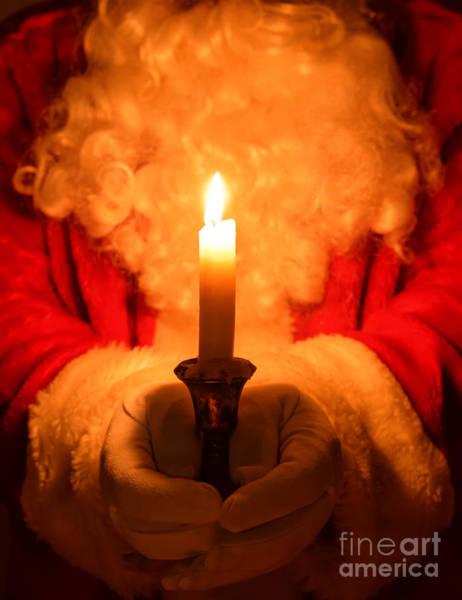 Santa Holding Candle Art Print