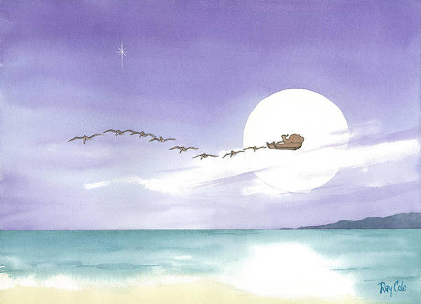 Pulling Painting - Santa Is Coming by Ray Cole