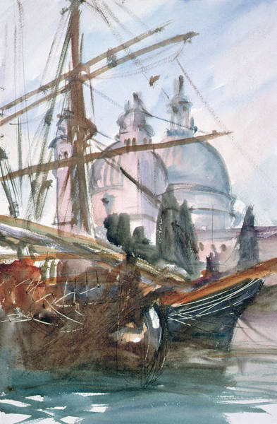 Mast Photograph - Santa Maria Della Salute, Venice Wc by John Singer Sargent