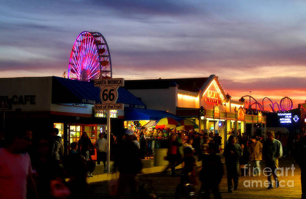 Photograph - Santa Monica Pier At Sunset by Diana Raquel Sainz