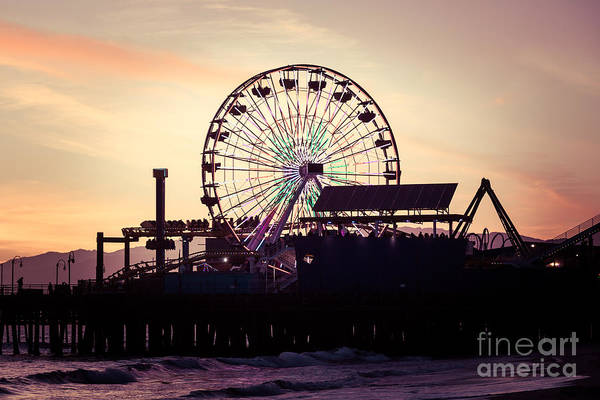 Santa Monica Pier Photograph - Santa Monica Pier Ferris Wheel Retro Photo by Paul Velgos
