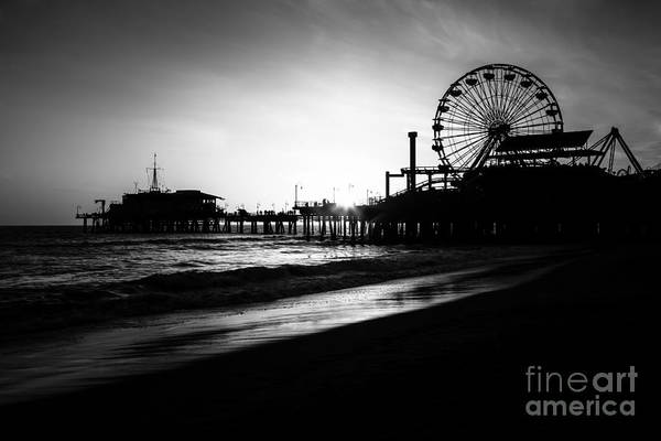 Water Wheel Wall Art - Photograph - Santa Monica Pier In Black And White by Paul Velgos