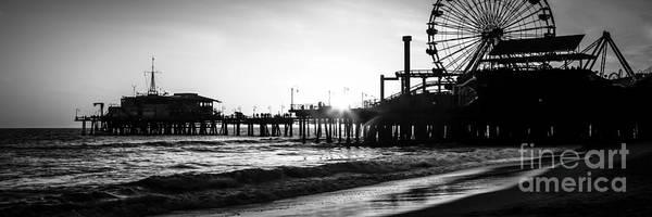 Santa Monica Pier Photograph - Santa Monica Pier Panorama Black And White Photo by Paul Velgos
