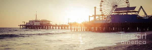 Santa Monica Pier Photograph - Santa Monica Pier Retro Sunset Panorama Photo by Paul Velgos