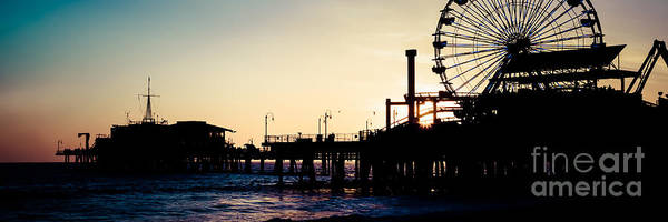 Santa Monica Pier Photograph - Santa Monica Pier Sunset Retro Panoramic Photo by Paul Velgos