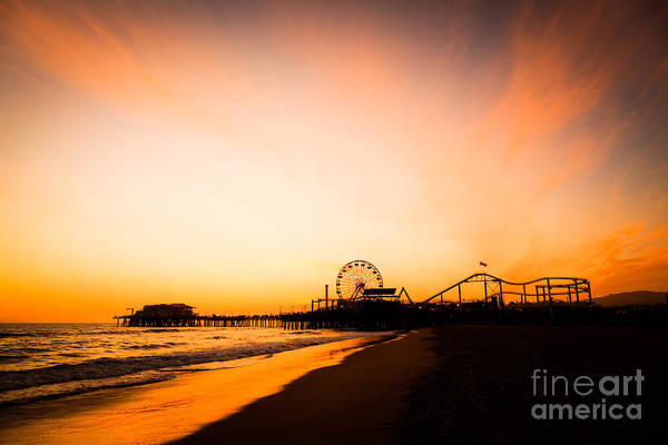 Wall Art - Photograph - Santa Monica Pier Sunset Southern California by Paul Velgos