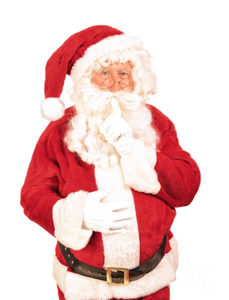 Jolly Holiday Photograph - Santa Saying Shush by Amanda Elwell