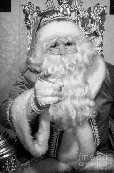 Wall Art - Photograph - Santa Sitting On His Throne Pointing To Camera In Grotto Set Up by Joe Fox