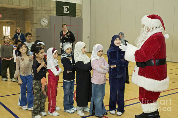 Photograph - Santa Visits Salina Elementary by Jim West