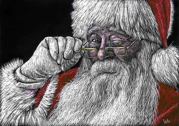 Drawing - Santa by William Underwood