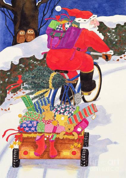 Owl Painting - Santas Bike by Linda Benton