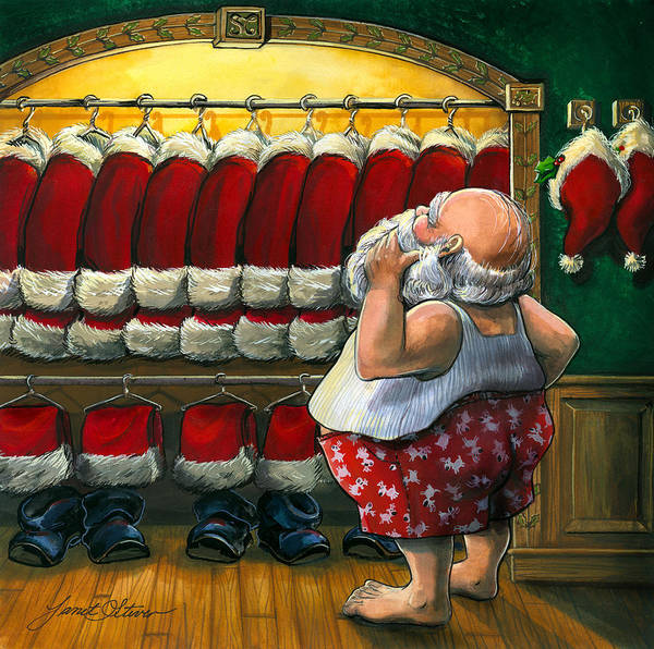 Folk Painting - Santa's Closet by Janet Stever