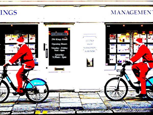 Wall Art - Photograph - Santas Cruising London  by Funkpix Photo Hunter
