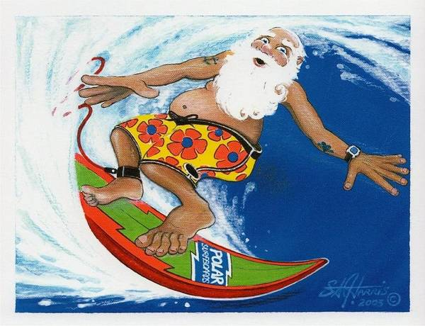 Steve Harris Wall Art - Painting - Santa's Getting Rad On His Polarboard by Steve Harris