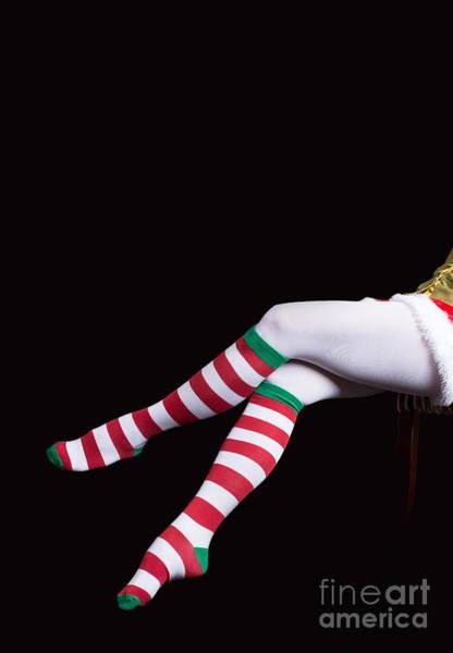 Photograph - Santas Helper Legs Christmas Card by Edward Fielding