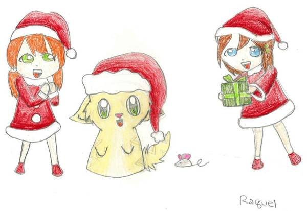 Drawing - Santa's Helpers by Raquel Chaupiz