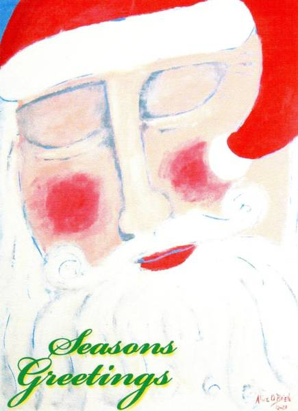 Yule Tide Painting - Santa's Prayer by Allison  Fauchier