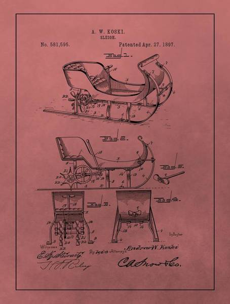 Wall Art - Mixed Media - Santa's Sleigh Patent 1897 by Dan Sproul