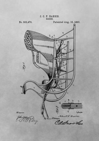 Wall Art - Drawing - Santa's Sleigh Patent Drawing by Dan Sproul