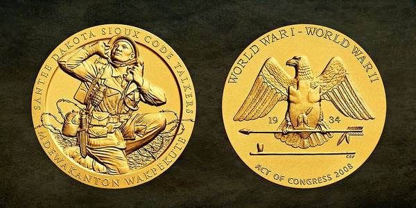Code Talkers Photograph - Santee Sioux Tribe Code Talkers Bronze Medal Art by Movie Poster Prints