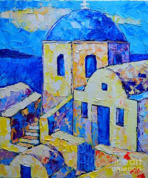 Maria Island Wall Art - Painting - Santorini Afternoon by Ana Maria Edulescu