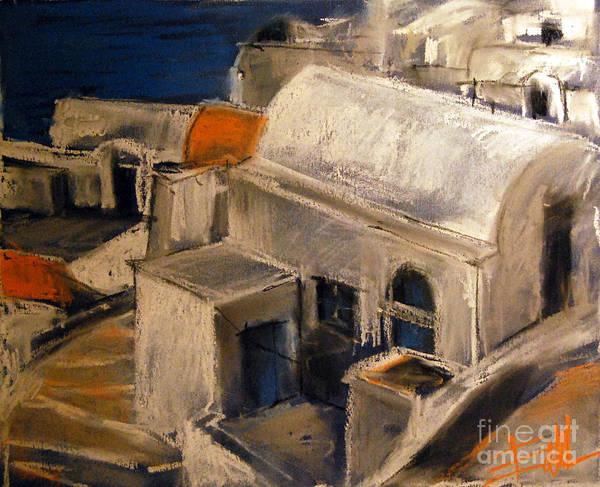 Greek Islands Wall Art - Pastel - Santorini by Mona Edulesco