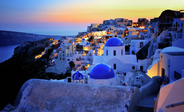 Blue Water Photograph - Santorini Island, Greece by Martin Froyda
