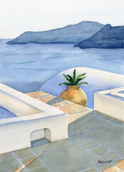 Stucco Wall Art - Painting - Santorini by Marsha Elliott