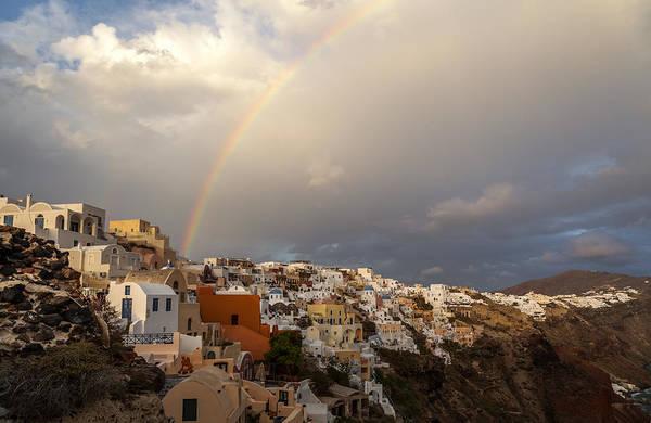 Photograph - Santorini Rainbow by Brian Grzelewski