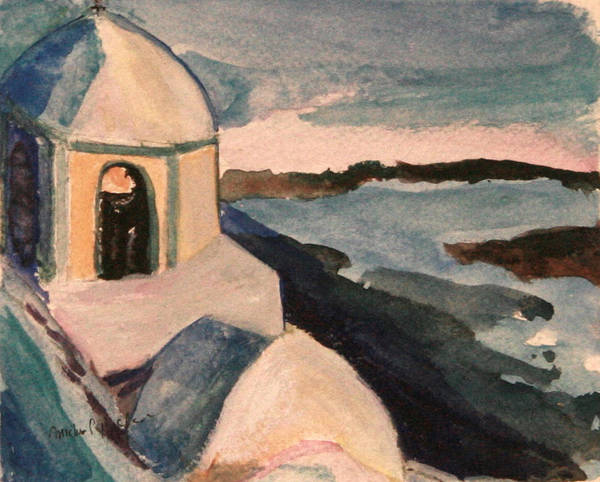 Painting - Santorini View by Michael Helfen