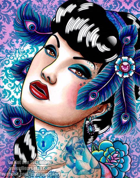 Tattoo Flash Painting - Sapphire Night by Carissa Rose