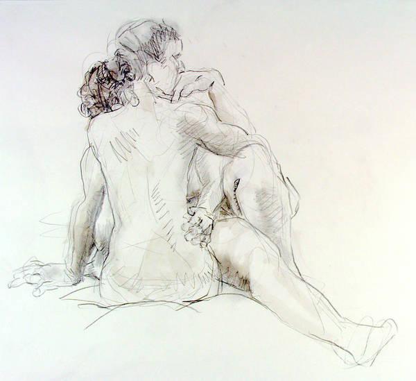 Nipples Drawing - Sara And Crystal Embracing by Andy Gordon