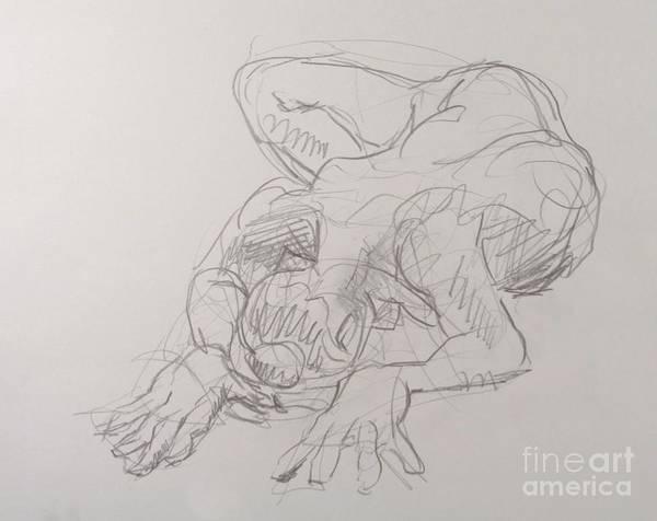 Nipples Drawing - Sara On Elbows by Andy Gordon