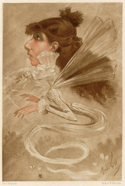 Gill Drawing - Sarah Bernhardt (1844 - 1923), An by Mary Evans Picture Library