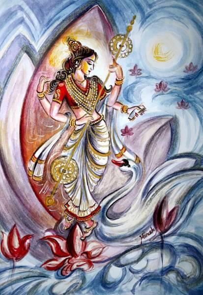 Ganesh Painting - Saraswati by Harsh Malik