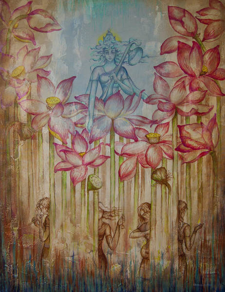 Wall Art - Painting - Sarasvati by Vrindavan Das