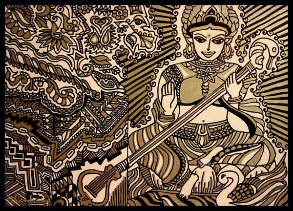 Hindu Goddess Drawing - Saraswati-hindu Goddess Of Wisdom by Chandrima Dhar