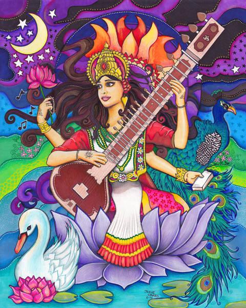Hindu Goddess Drawing - Saraswati by Julie Oakes