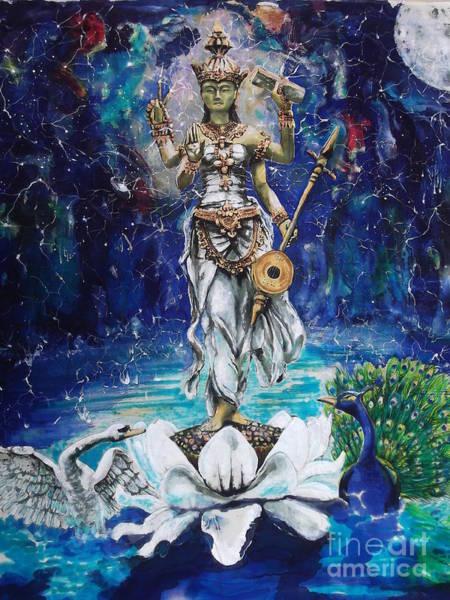Hindu Goddess Wall Art - Painting - Saraswati by Silk Alchemy