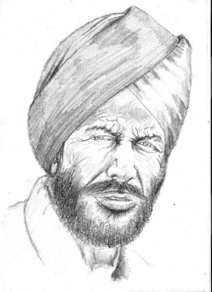 Singh Drawing - Sardar Milkha Singh by Gurinder  Singh