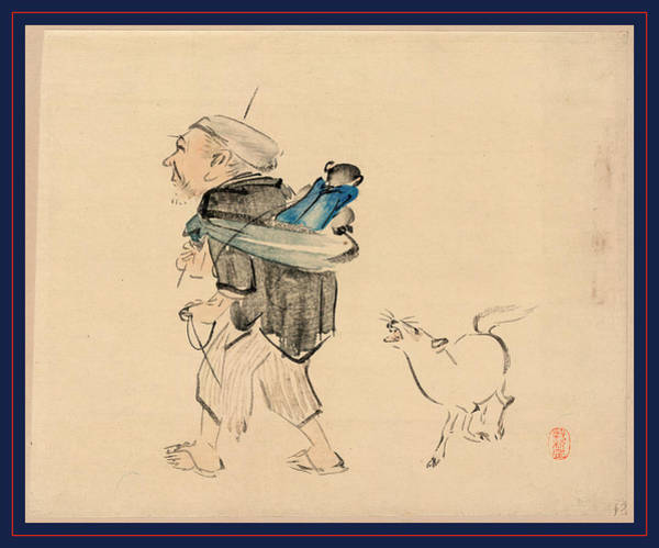 1880 Drawing - Saruhiki To Inu, Monkey Trainer And A Dog by Zeshin, Shibata (1807-91), Japanese