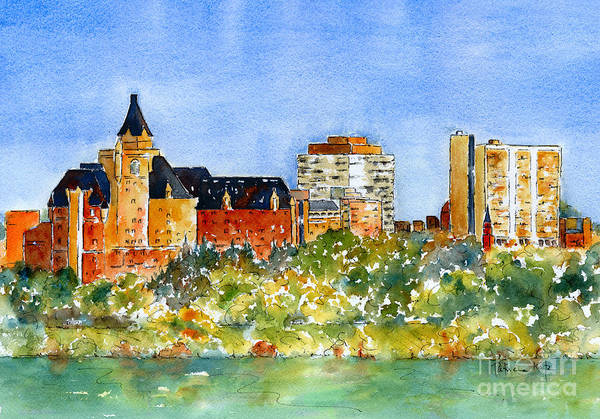 Riverbank Painting - Saskatoon Panorama by Pat Katz